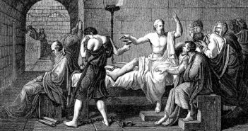Die drei Siebe von Sokrates. Dieses Bild zeigt die letzte Stunde von Sokrates