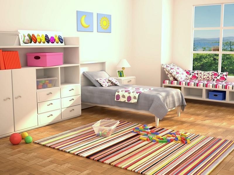 Kinderzimmer mit Lego: Wenn es nur immer so ausschauen würde! Dann wären die Legosteine auch ruckzuck sortiert.